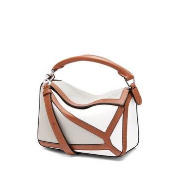 LOEWE 小号Puzzle几何手袋 Ghost/Soft White front