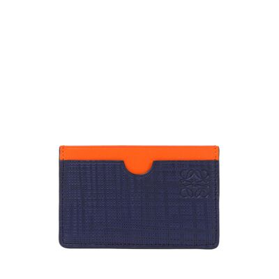 LOEWE Plain Card Holder Navy Blue/Orange front