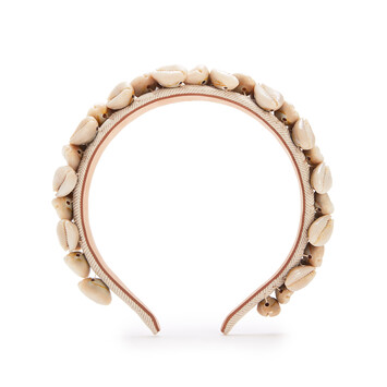 LOEWE Seashells Headband In Straw And Shell Beige front