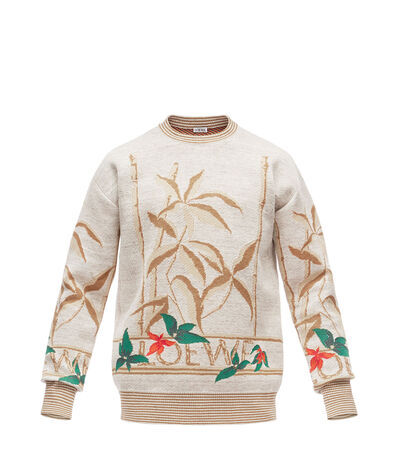 LOEWE Sweater Flowers Light Grey/Multicolor front