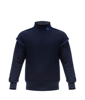 LOEWE Blanket Stitch Turtleneck Navy Blue front