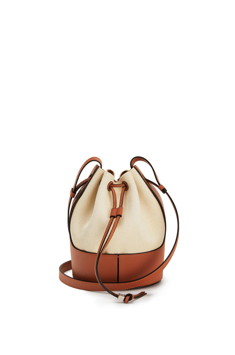 LOEWE Small Balloon bag in canvas and calfskin 亞麻色/棕褐色 pdp_rd