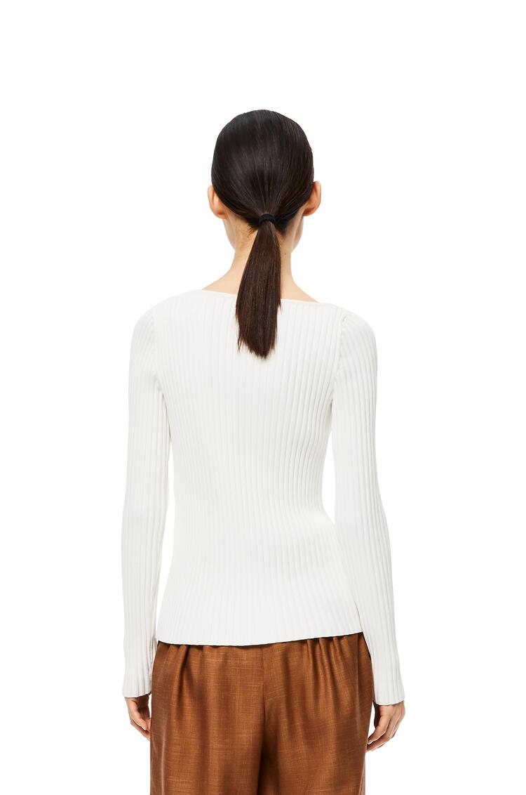 LOEWE Ribbed asym collar sweater in cotton White pdp_rd