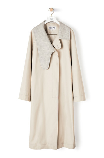 LOEWE Long Asym Collar Coat Beige/Grey front