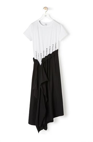 LOEWE Woven Satin & Jersey Dress 淡褐色 front