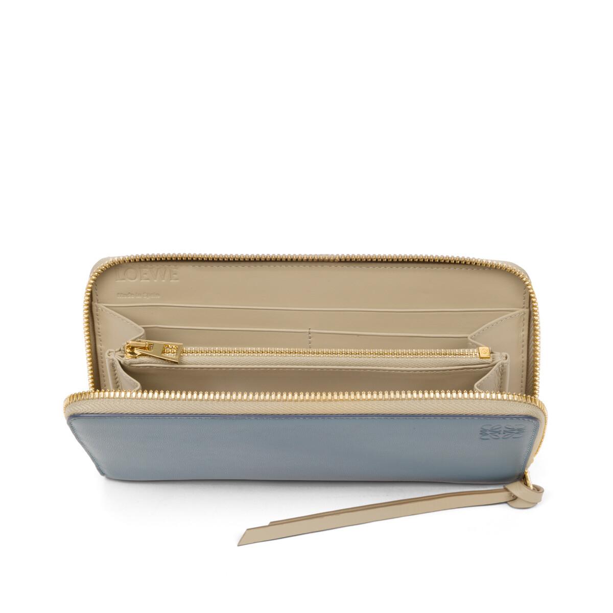 LOEWE Zip Around Wallet Stone Blue/Ivory front