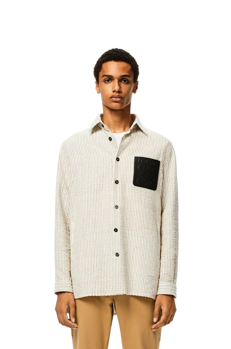 LOEWE Overshirt in cotton White/Brown pdp_rd