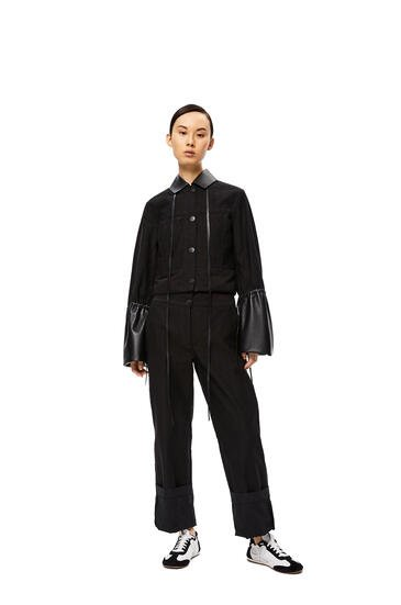 LOEWE Leather collar cuff jacket in cotton Black pdp_rd
