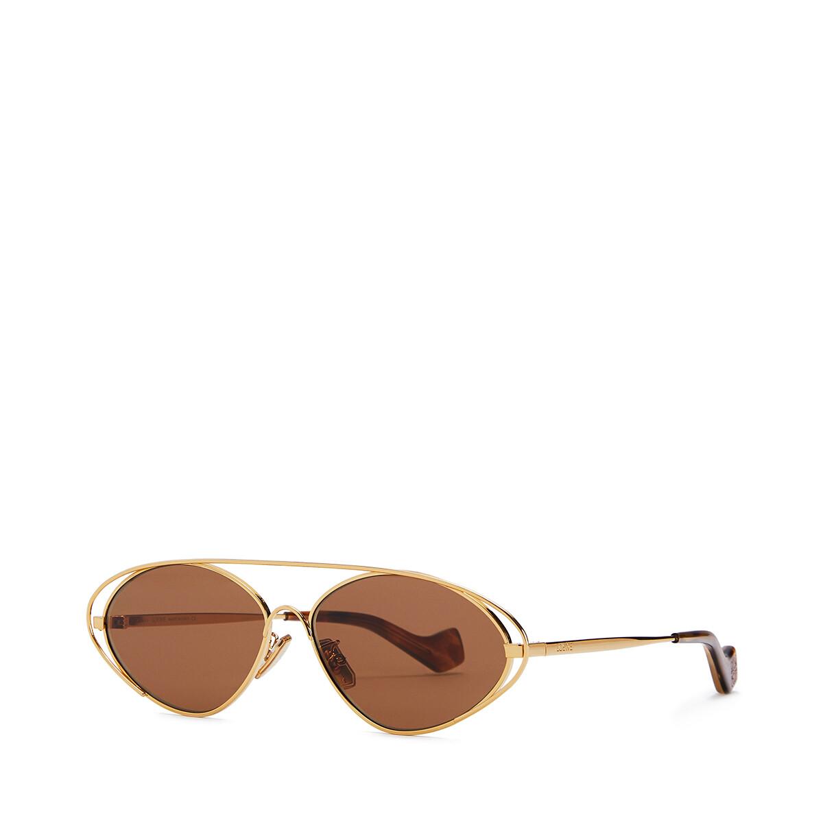 LOEWE Metal Oval Sunglasses Hazelnut front