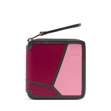 LOEWE Puzzle Square Zip Wallet Wild Rose/Raspberry front