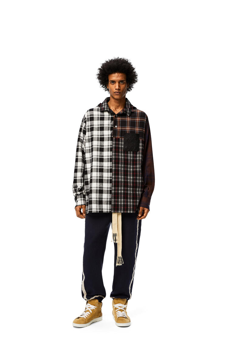 LOEWE Patchwork oversize hooded shirt in check cotton Brown/Grey pdp_rd