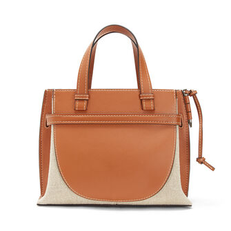 LOEWE Gate Top Handle Small Bag Tan/Natural front