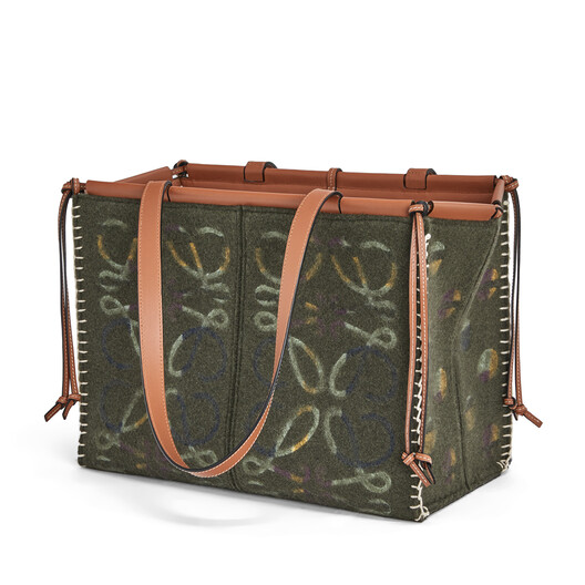 LOEWE Cushion Tote Anagram Khaki Green front
