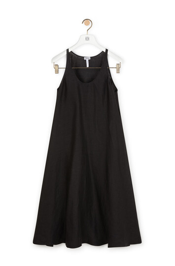 LOEWE Satin Double Layer Dress Black front
