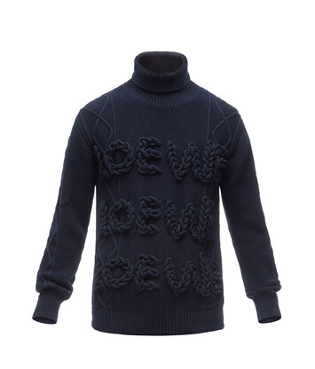 LOEWE Cable Turtleneck Sweater Loewe Navy Blue front