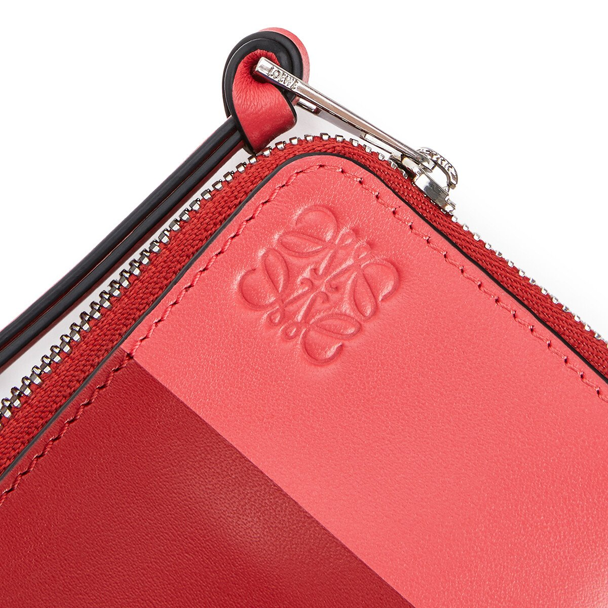 LOEWE Color Block Coin Card Holder Pomodoro/Poppy Pink front