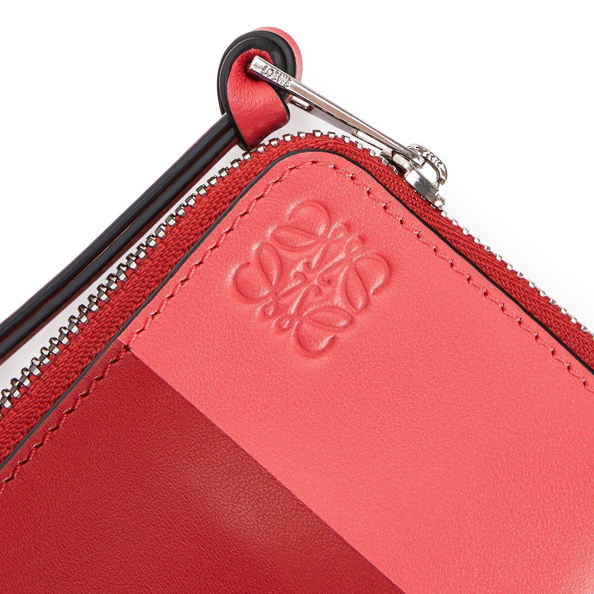 LOEWE カラー ブロック コイン カード ホルダー Pomodoro/Poppy Pink front