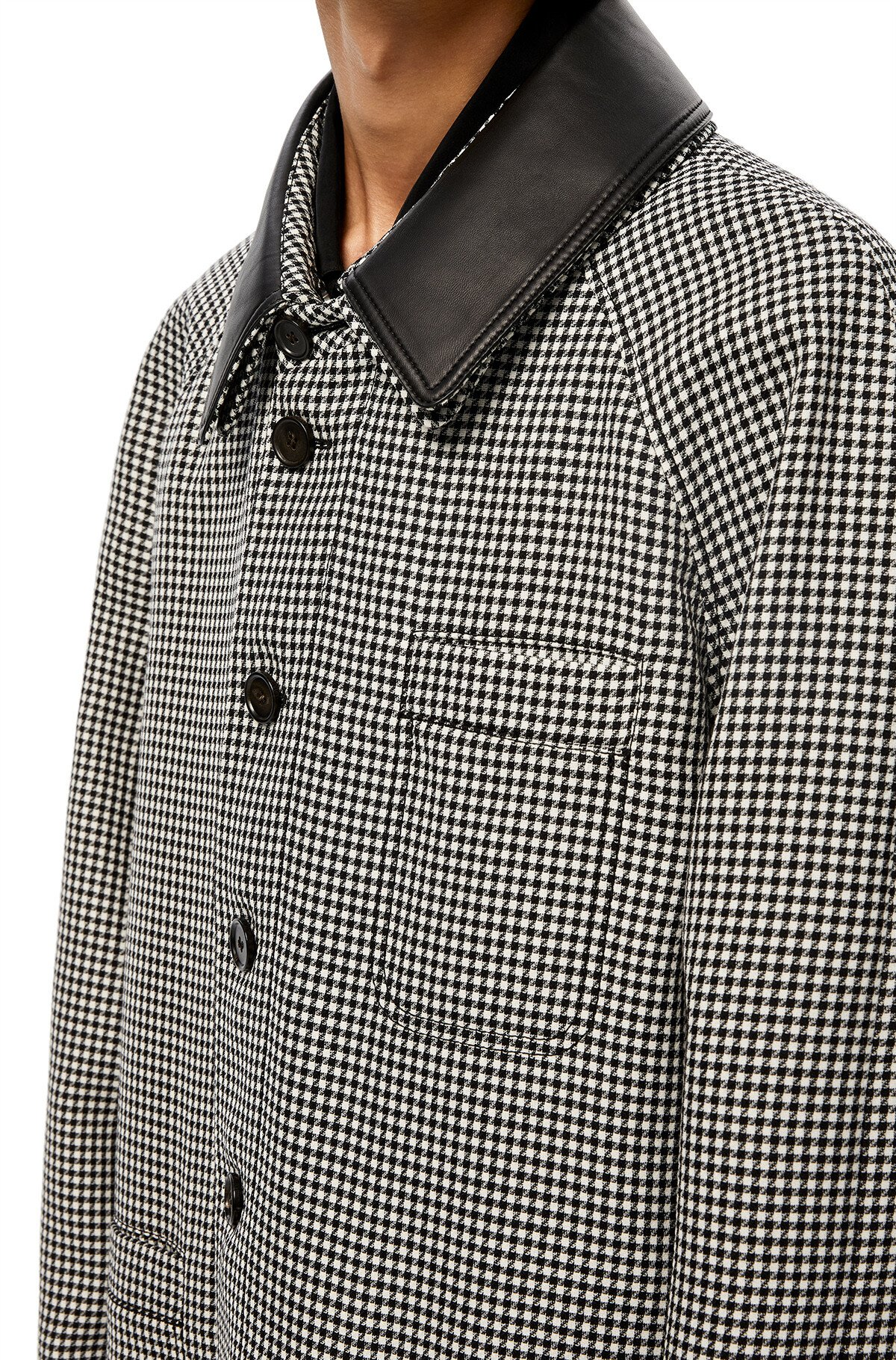 LOEWE Check Car Coat Leather Collar Grey front