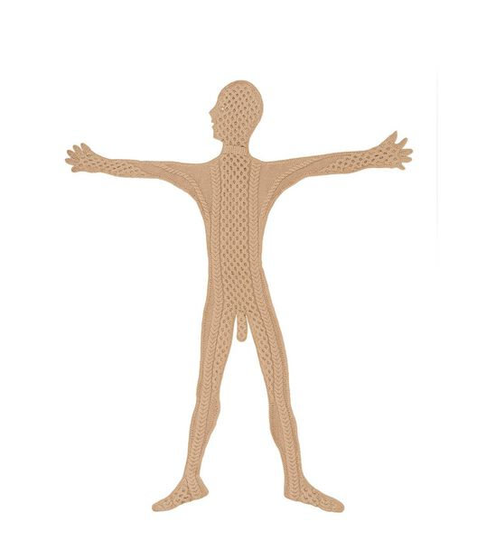 LOEWE Hand Knitted Men Front Arms Up Camel all