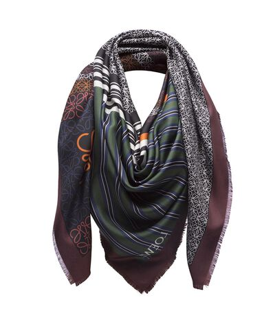 LOEWE 140X140 Scarf Patchwork Stripe Black/Navy/Red front