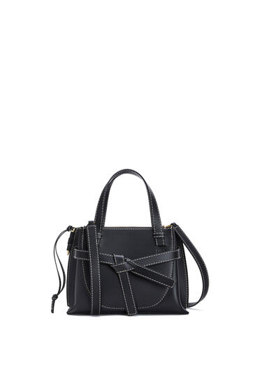 LOEWE Mini Gate Top Handle bag in natural calfskin Black pdp_rd