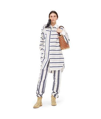 LOEWE Oversize Stripe Shirt Blanco/Azul front