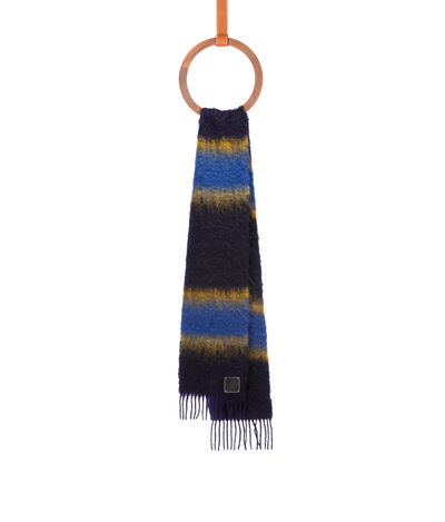 LOEWE 23X185 Scarf Varsity Stripes Yellow/Navy front