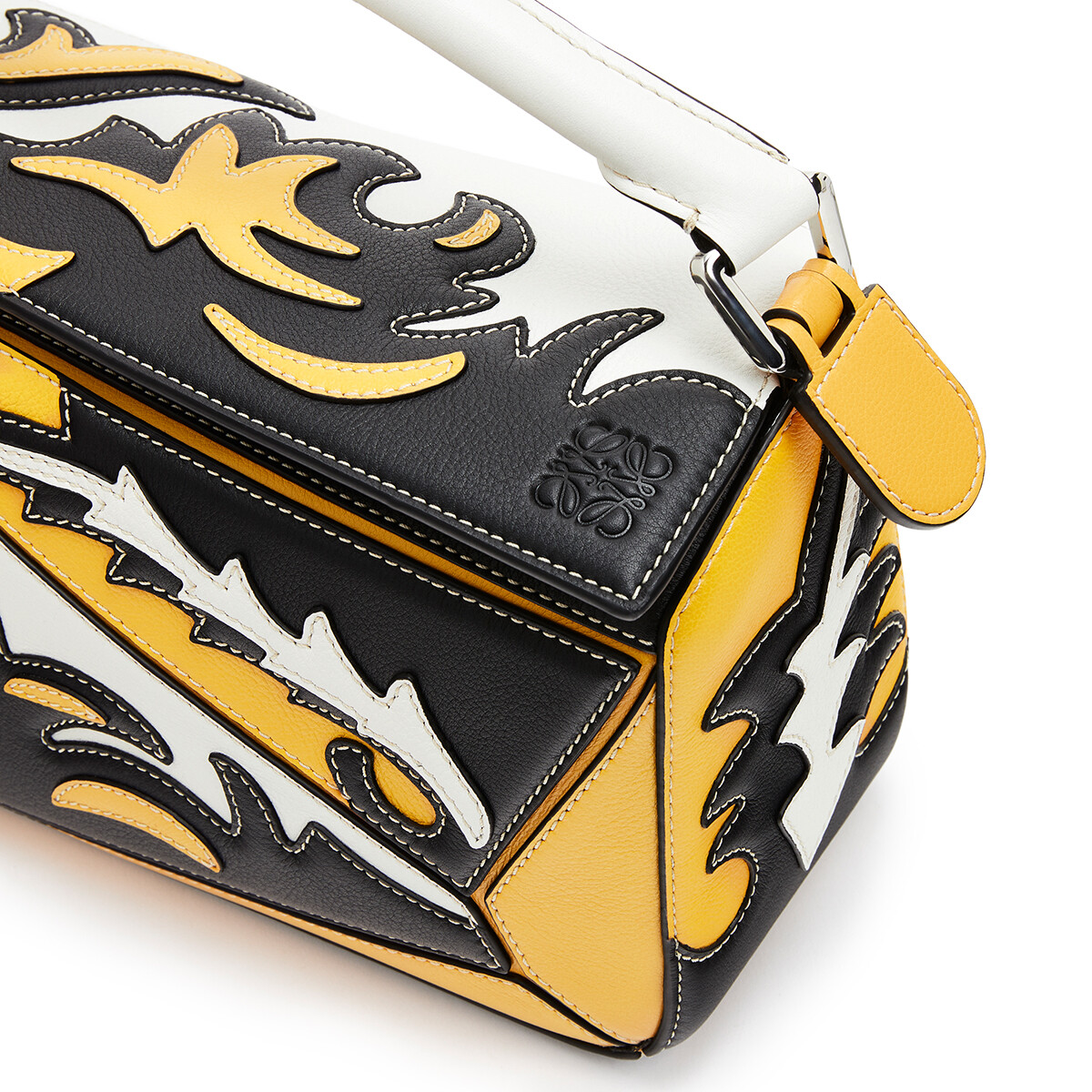 LOEWE Puzzle Cowboy Small Bag Black/Yellow Mango front