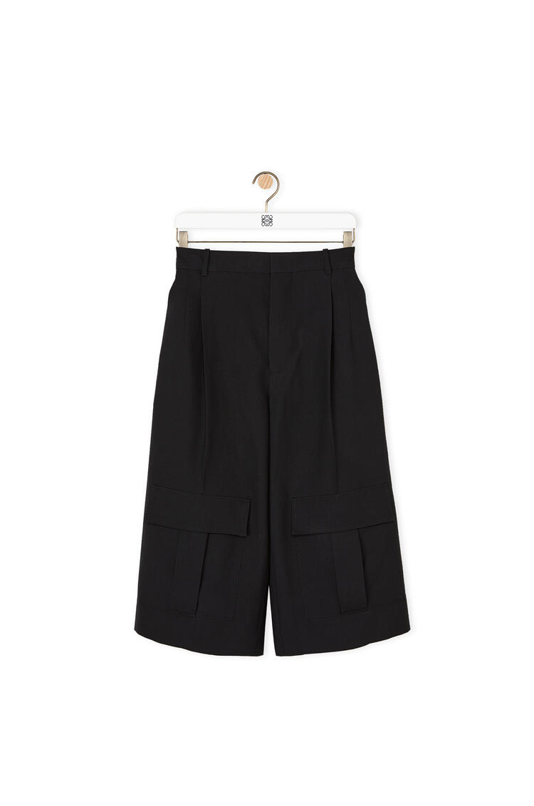 LOEWE Cargo short trousers in cashmere Dark Navy Blue pdp_rd