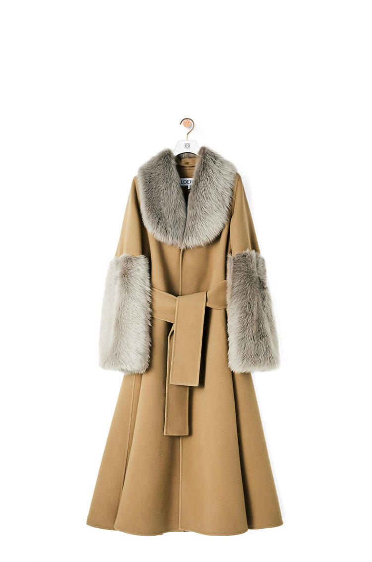 LOEWE Shearling trim belted coat in wool and cashmere Camel pdp_rd