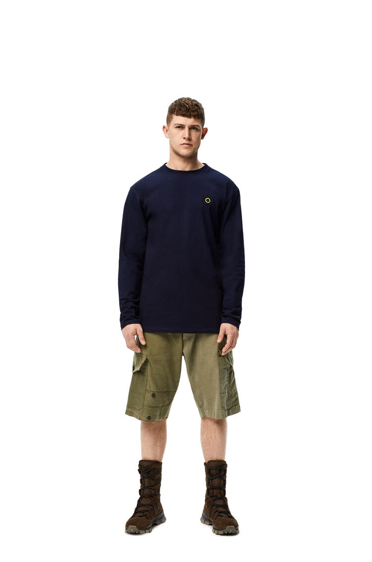 LOEWE Long sleeve print T-shirt in cotton Navy Blue pdp_rd
