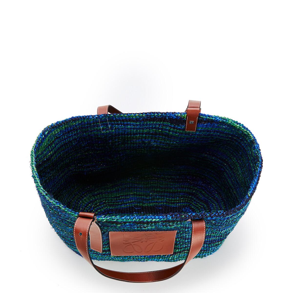 LOEWE Bolso Tipo Cesta Grande En Sisal Y Piel De Ternera Negro/Azul front