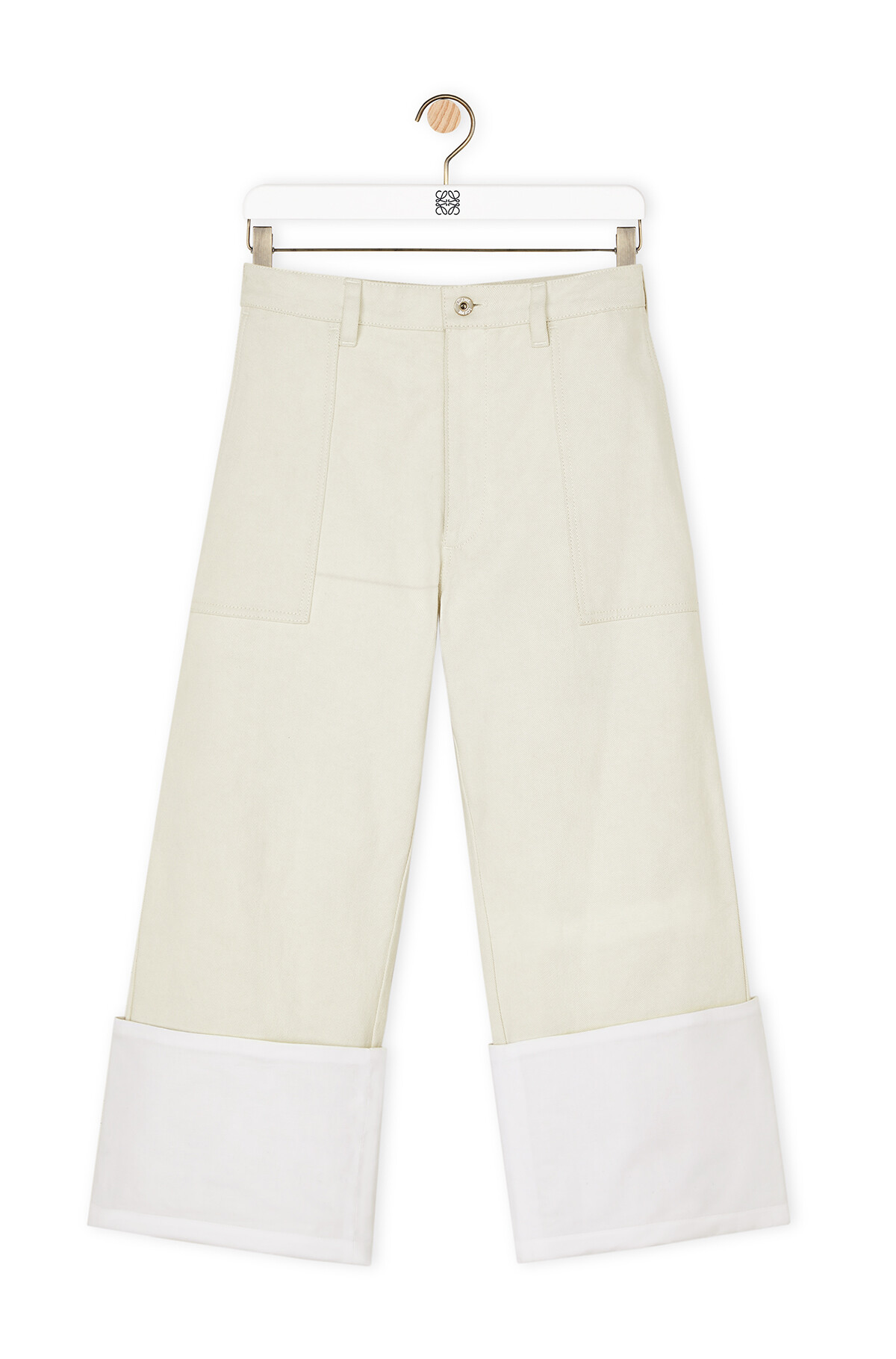 LOEWE Turn Up Patch Pocket Trousers 白 front