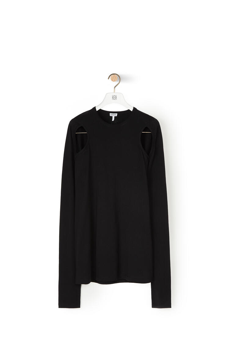 LOEWE Cut out long sleeve t-shirt in cotton Black pdp_rd