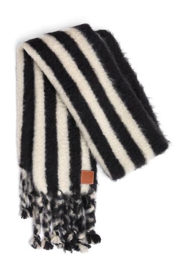 LOEWE 45X230 Mohair Scarf Stripes Blanco/Negro front