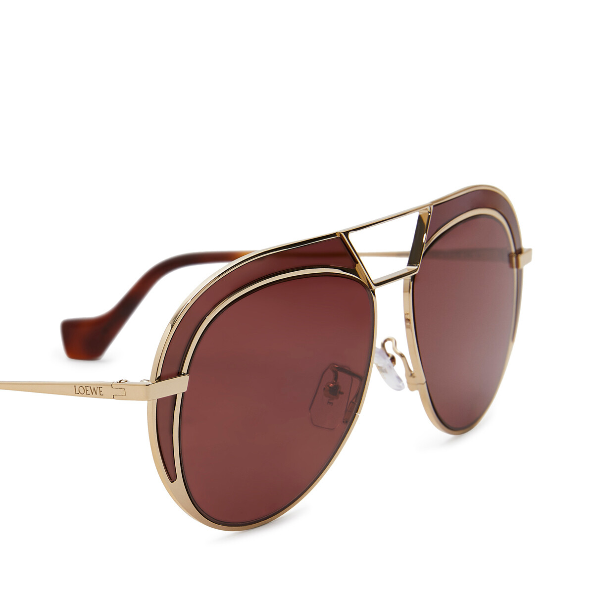 LOEWE Round Metal Sunglasses Gold/Burgundy front