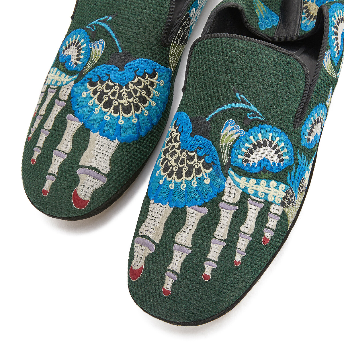 LOEWE Embroidered Slipper Dark Green/Multicolour front