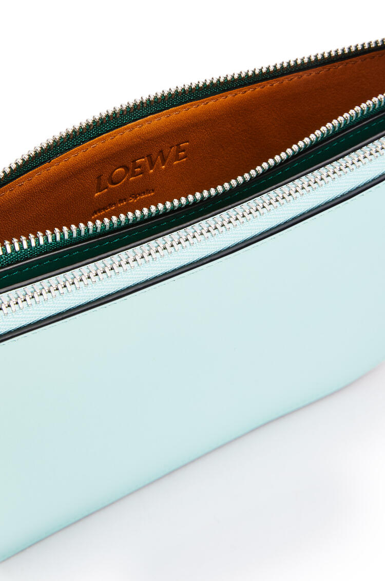 LOEWE Gate double zip pouch in soft calfskin Mint/Vintage Khaki pdp_rd