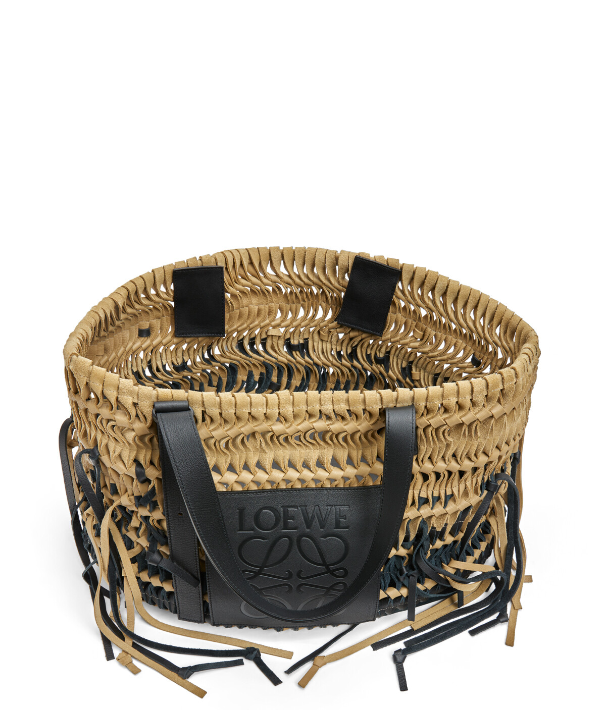 LOEWE Woven Tote Bag Gold/Black front