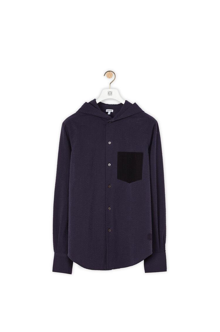LOEWE Hooded Shirt In Cotton Navy Blue/Black pdp_rd