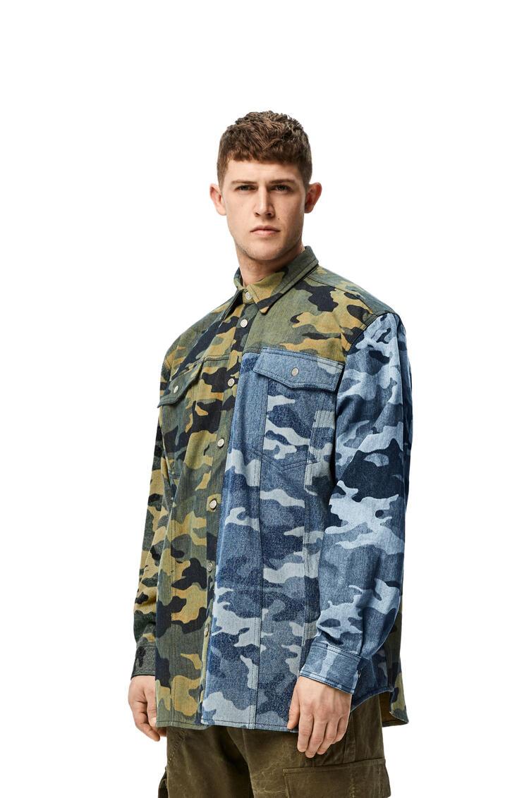 LOEWE Camouflage shirt in denim Khaki Green/Blue pdp_rd