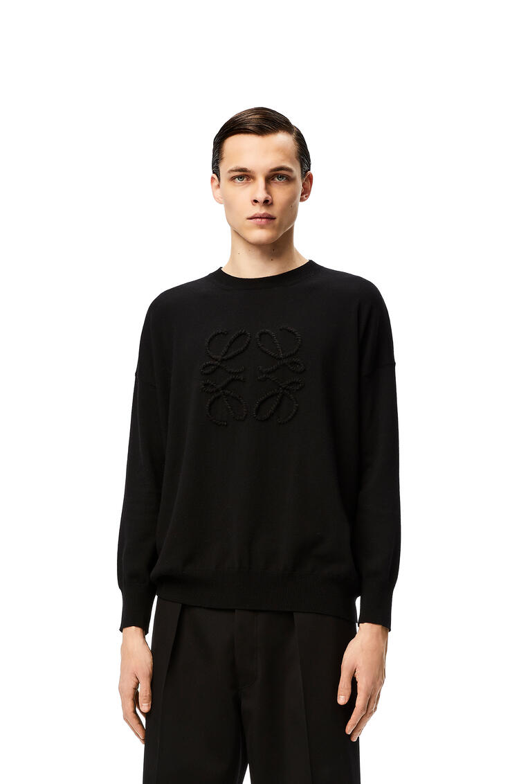 LOEWE Anagram stitch sweater in wool and cashmere Black pdp_rd
