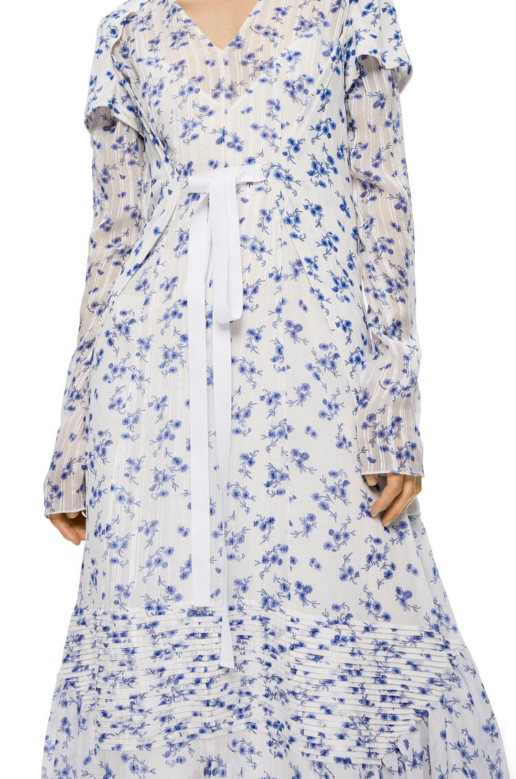 LOEWE Dress In Flower Cotton And Silk White/Multicolor pdp_rd
