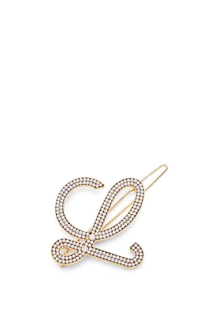 LOEWE Horquilla en metal y perlas Oro/Blanco pdp_rd