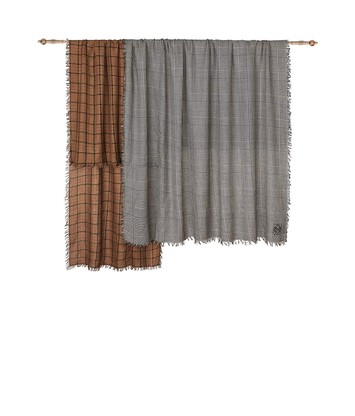 LOEWE 180X220 Double Scarf Patchwork Toffee/Grey front