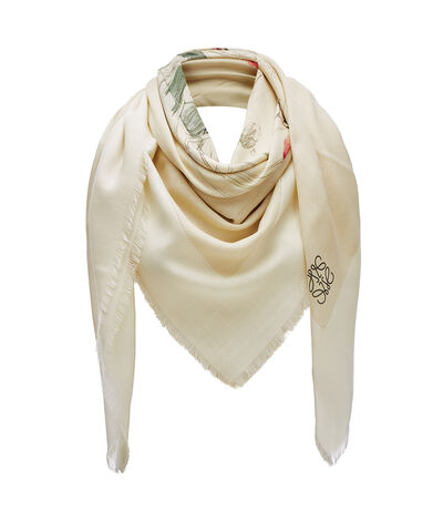 LOEWE 140X140 Scarf Botanical Light Pink/Natural front