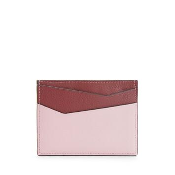 LOEWE Puzzle Plain Cardholder Wine/Pastel Pink front