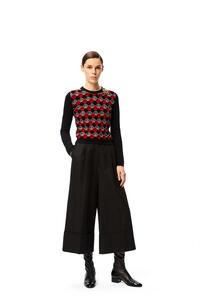 LOEWE Anagaram embellished crewneck sweater in wool Black/Burgundy pdp_rd