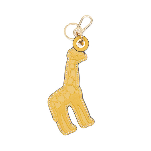 LOEWE Giraffe Leather Charm Yellow Mango/Varsity Blue front