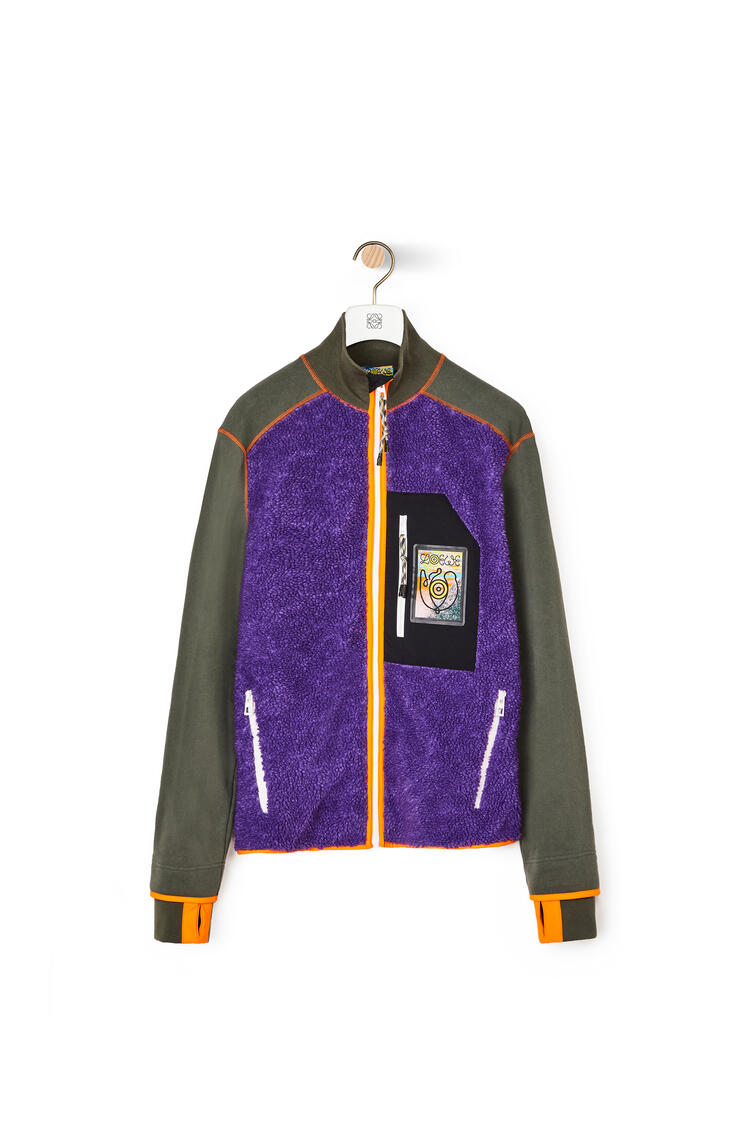 LOEWE High neck fleece jacket in cotton Khaki Green pdp_rd